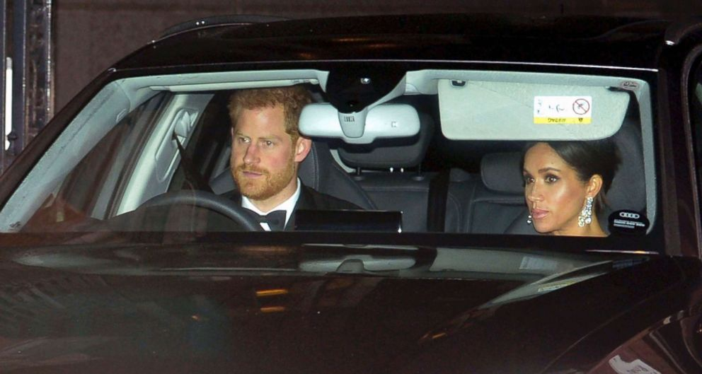PHOTO: Britains Prince Harry and Meghan, Duchess of Sussex arrive at Buckingham Palace in London for the Prince of Wales 70th birthday party, in London, Nov. 14, 2018.
