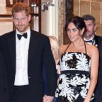 Prince Harry, Duke of Sussex and Meghan, Duchess of Sussex depart after attending the Royal Variety Performance 2018 at London Palladium, Nov. 19, 2018, in London.
