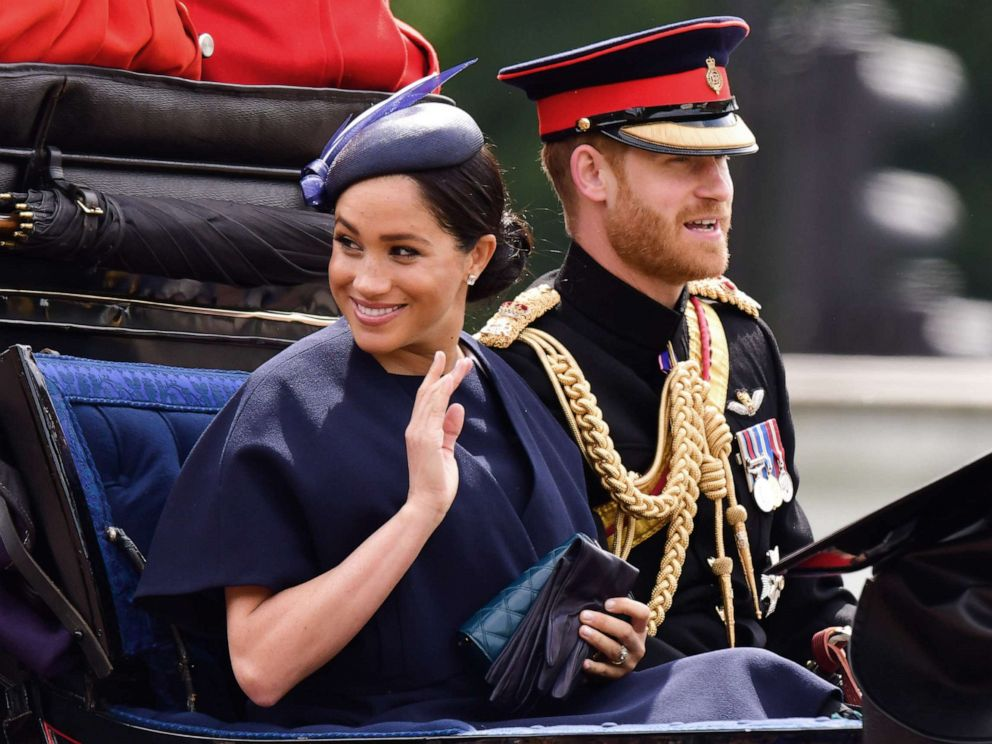 PHOTO: Meghan, Duchess of Sussex and Prince Harry, Duke of Sussex leave Buckingham Palace in a carriage during Trooping The Colour, the Queens annual birthday parade, on June 8, 2019 in London.