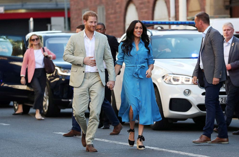 PHOTO: The Duke and Duchess of Sussex, Prince Harry and his wife Meghan, arrive at the District Six, on the first day of their African tour in Cape Town, South Africa, Sept. 23, 2019.
