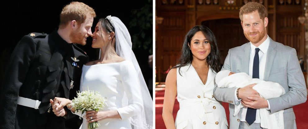 PHOTO: Prince Harry and Meghan Markle are pictured on their wedding day, May 19, 2018, and the day they presented their newborn son to the public, May 8, 2019, at Windsor Castle in England.