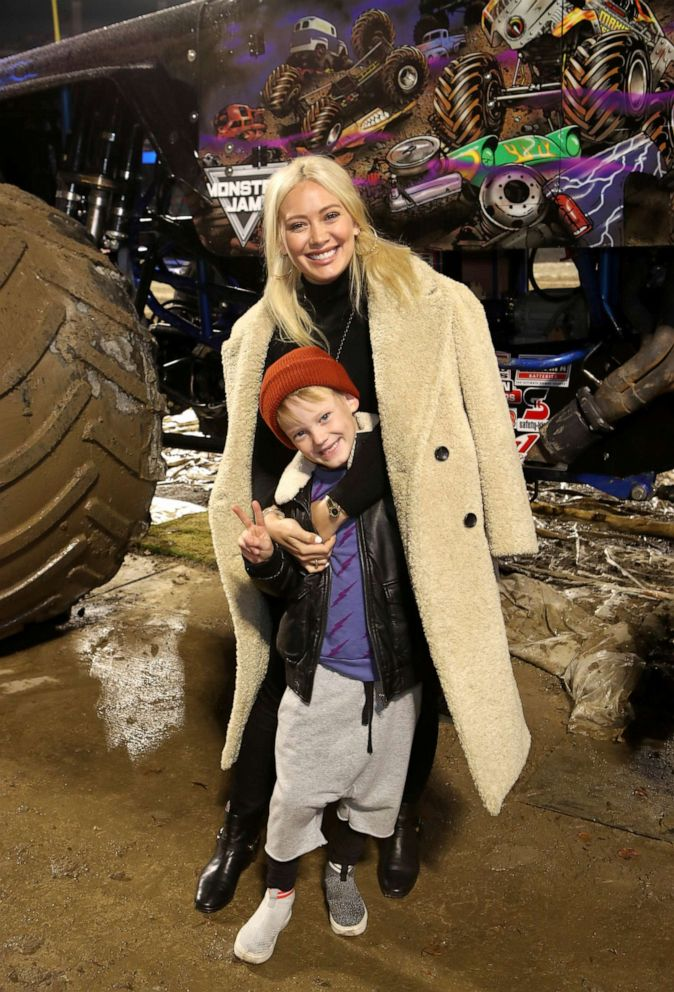 PHOTO: Hilary Duff and son Luca attend the Monster Jam Celebrity Event at Angel Stadium, Jan. 12, 2019, in Anaheim, Calif.