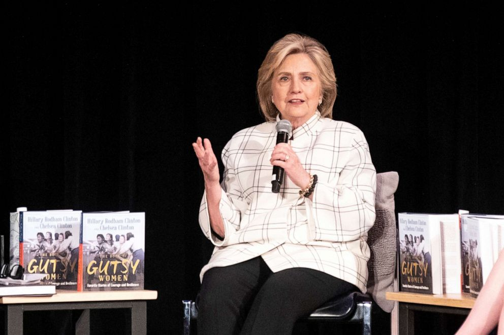 """PHOTO: Former Secretary of State Hillary Clinton attends a discussion on their book """"The Book of Gutsy Women"""" at the Ebell Theater in Los Angeles, Nov. 5, 2019."""