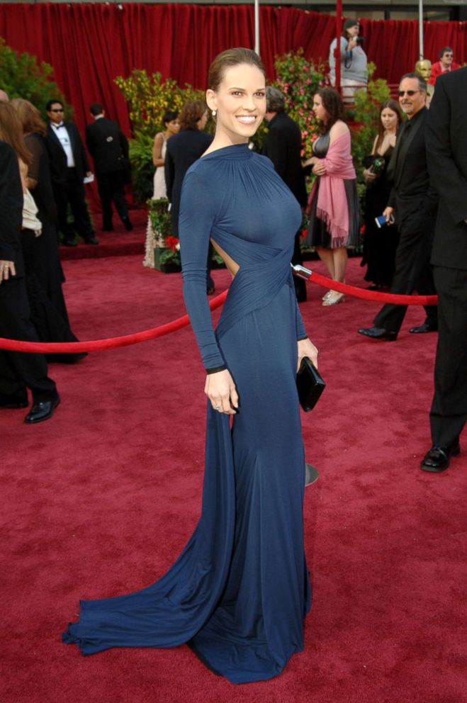 Hilary Swank attends the Academy Awards in Los Angeles.