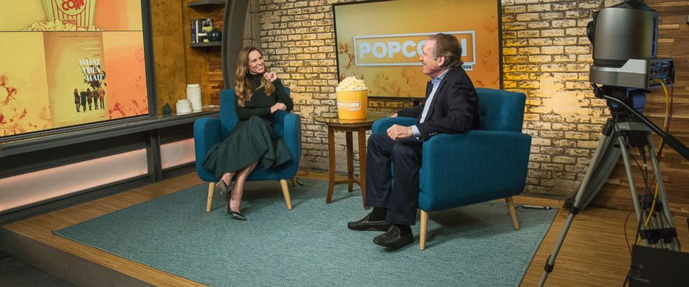 "PHOTO: Hillary Swank appears on ""Popcorn with Peter Travers"" at ABC News studios, Oct. 11, 2018, in New York."
