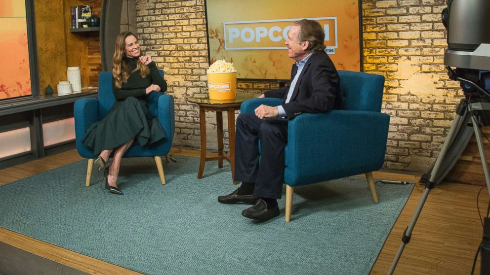 """Hillary Swank appears on """"Popcorn with Peter Travers"""" at ABC News studios, Oct. 11, 2018, in New York."""