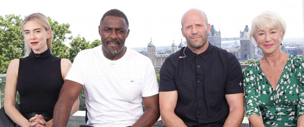 PHOTO: Vanessa Kirby, Idris Elba, Jason Statham and Helen Mirren star in the new Hobbs and Shaw movie.