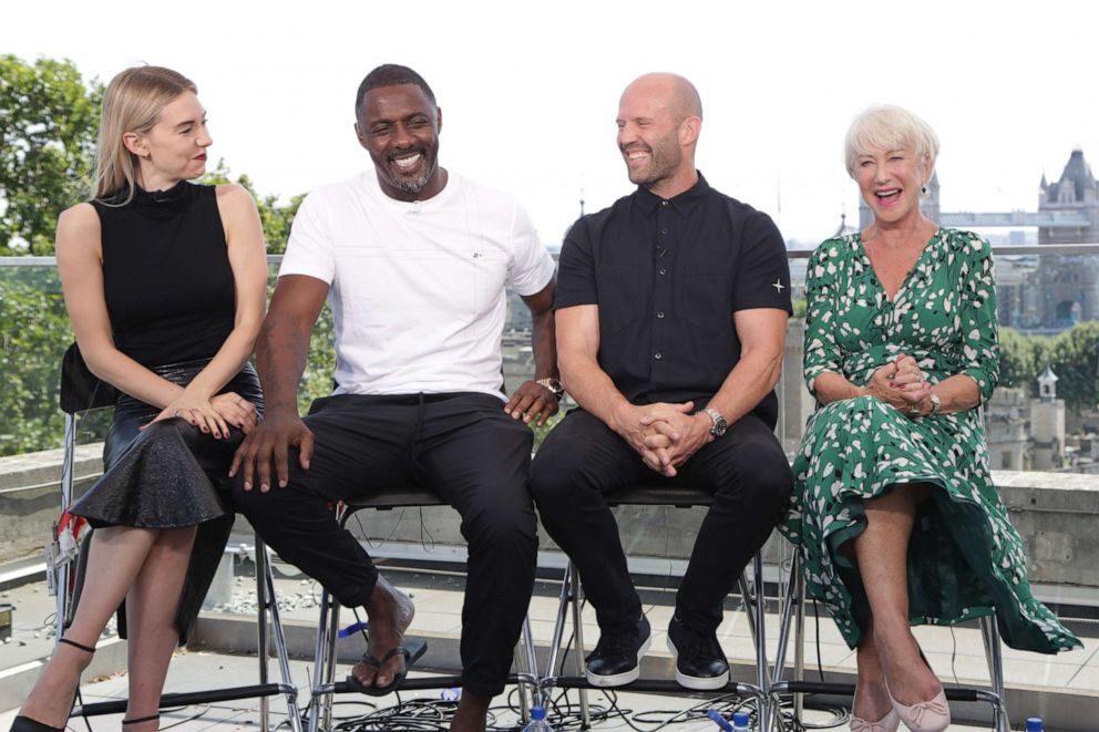 PHOTO: Kirby, Elba, Statham and Mirren dish on the new Hobbs and Shaw film during an interview with GMA in London.