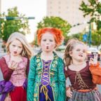 """Mom Heather Grabenstein of Waco, Texas, is dressing her daughters, Landri, 6, and Alli and Maddi, both 8, as the Sanderson sisters from the classic Halloween film, """"Hocus Pocus."""""""