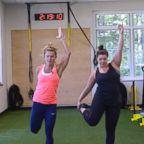 Holly Rilinger, left, and Julia Dodds, right, train together.