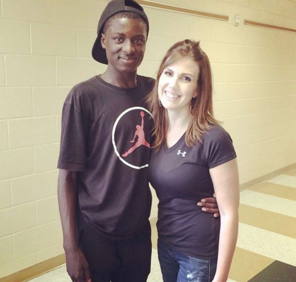 PHOTO: Amonte Green is seen in 2015 on the last day of 8th grade with his teacher Kate Demory at Glenridge Middle School in Orlando, Florida.