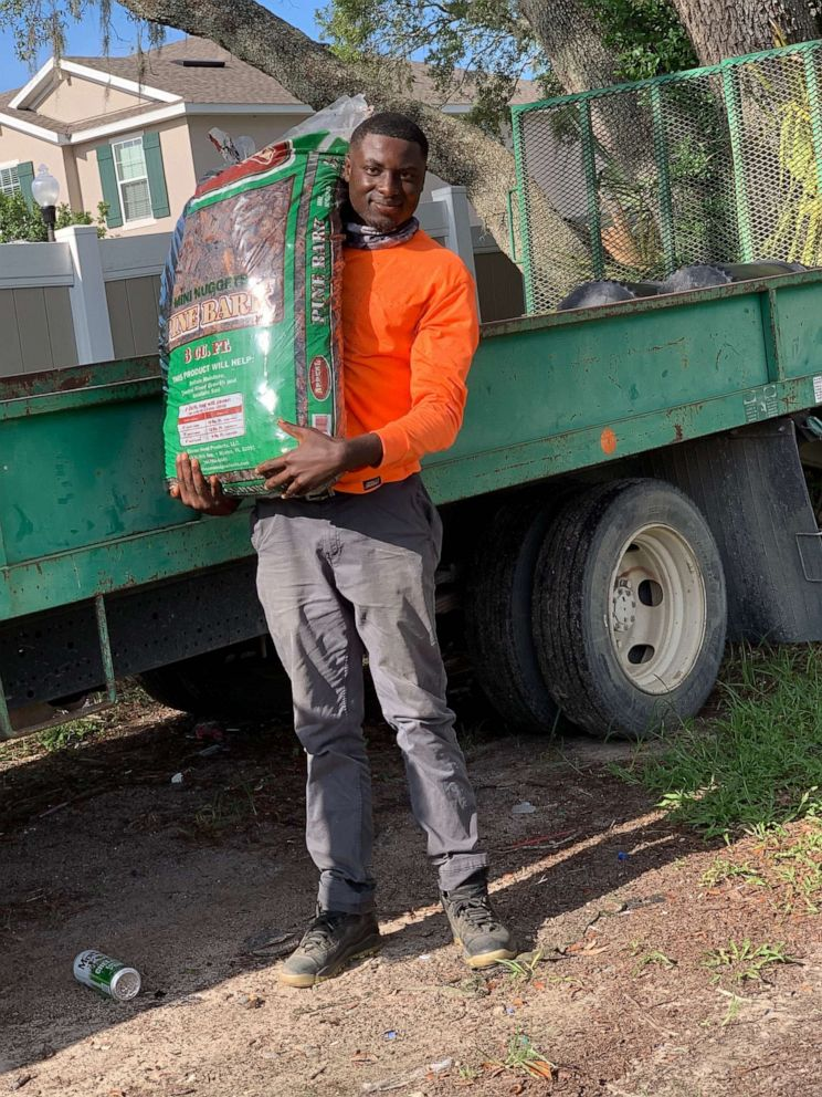 PHOTO: Amonte Green, 20, recently landed a landscaping job in Florida.