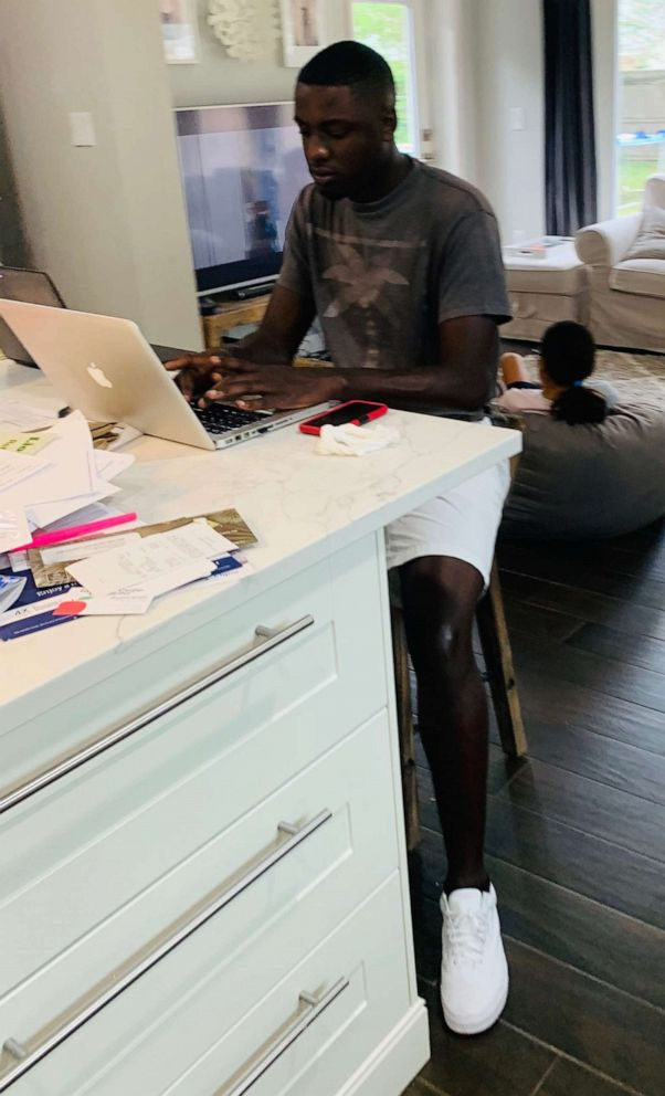 PHOTO: Amonte Green, 20, is seen in an undated photo doing research on a computer at the home of his former middle school teacher, Kate Demory.