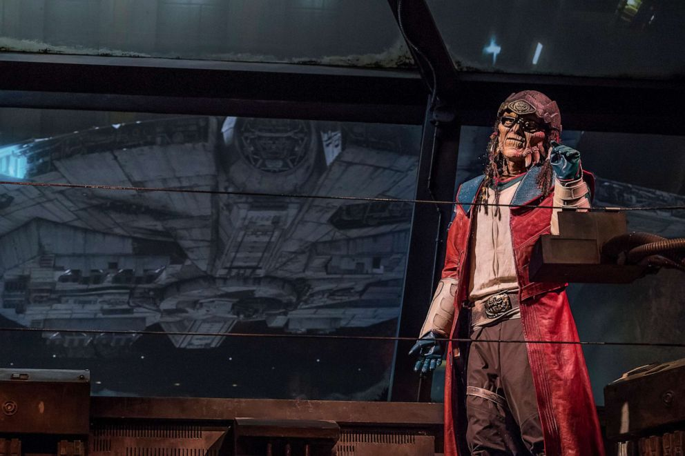 PHOTO:The notorious Weequay pirate, Hondo Ohnaka, gives guests their mission prior to boarding Millennium Falcon: Smugglers Run at Star Wars: Galaxy•s Edge at Disneyland Park in Anaheim, Calif., and at Disneys Hollywood Studios in Lake Buena Vista, Fla.