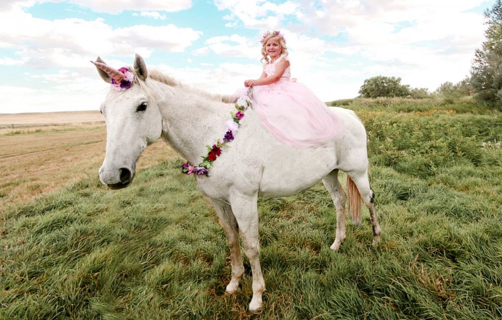 PHOTO: 5-year-old Emilee Perman is pictured on a horse for her 5th birthday in a photo taken by her mother.