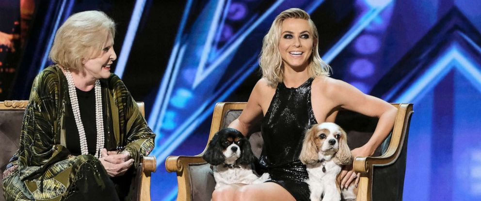 "PHOTO: Julianne Hough with her dogs, Lexi and Harley, during an episode of ""Americas Got Talent, March 15, 2019."