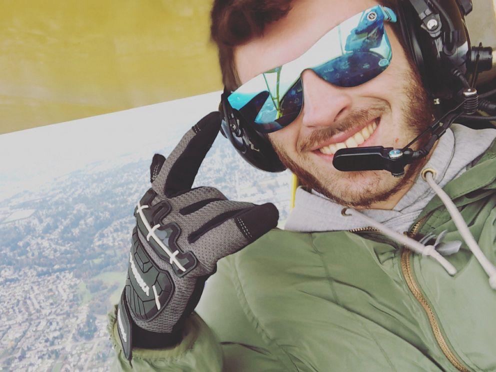 PHOTO: Brett Easter takes a selfie inside his plane.