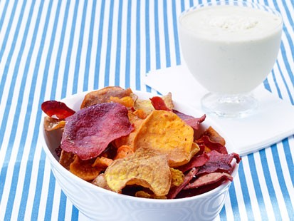 Photo: Sunny Andersons Vegetable Chips with Blue-Cheese Dip: Ditch the Salt for Something Healthy and Snackable