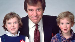 In earlier times, ABC News anchor Peter Jennings with his son, Christopher, and daughter Elizabeth.