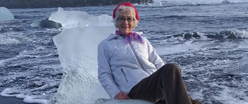 PHOTO: Judith Streng posed seated on an iceberg while her son Rod Streng took a picture before a wave pulled her out and prompted a rescue.