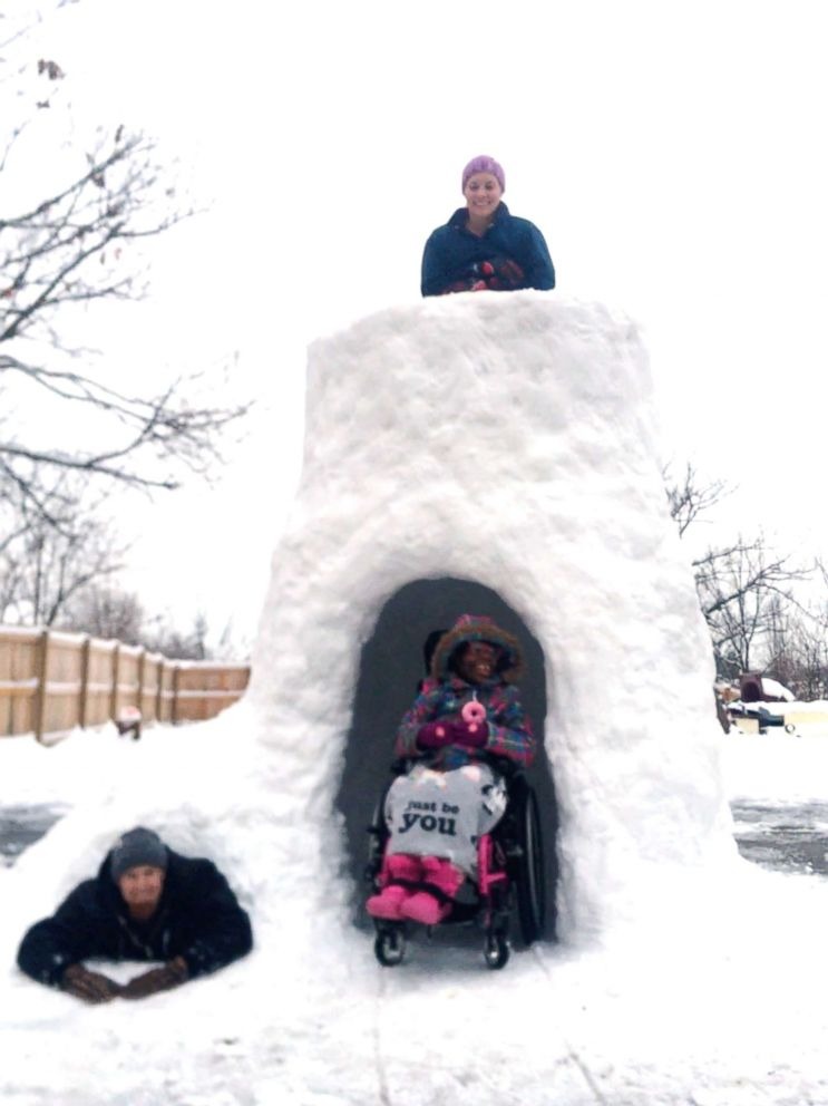 This dad who built an epic igloo for his kids with disabilities is