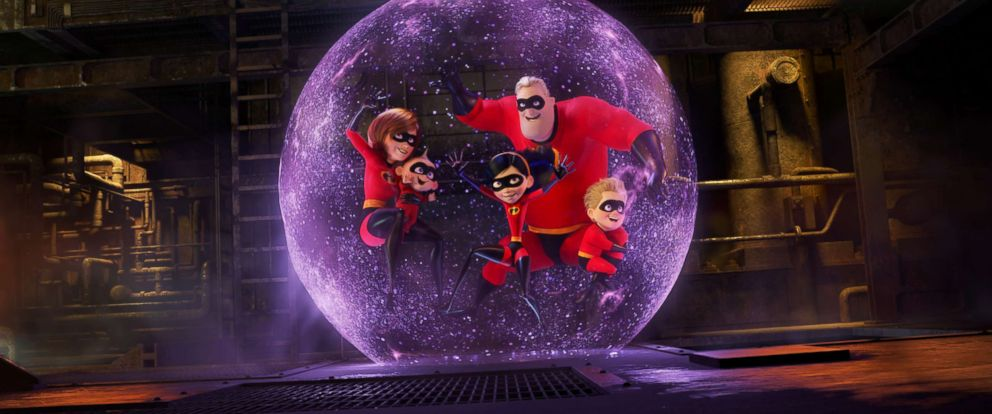 "PHOTO: Holly Hunter, Craig T. Nelson, Sarah Vowell, and Huck Milner appear in ""Incredibles 2."""