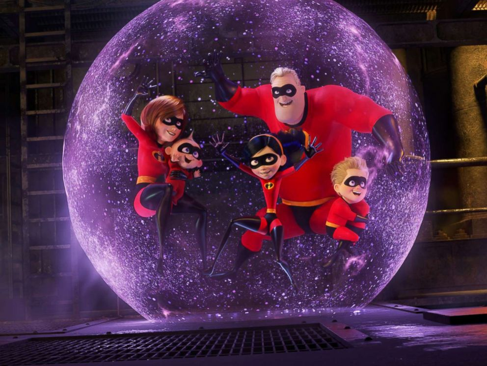 PHOTO: Holly Hunter, Craig T. Nelson, Sarah Vowell, and Huck Milner appear in Incredibles 2.