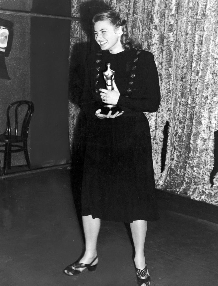 PHOTO: Ingrid Bergman holds her Oscar for best actress for her role in the film Gaslight, at the Academy Awards, March 15, 1945.