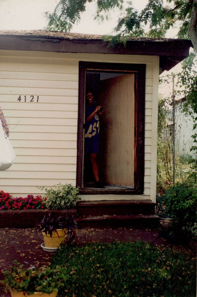 PHOTO: A young Sarah M. Broom is pictured here at 4121 Wilson Ave in front of her childhood home.