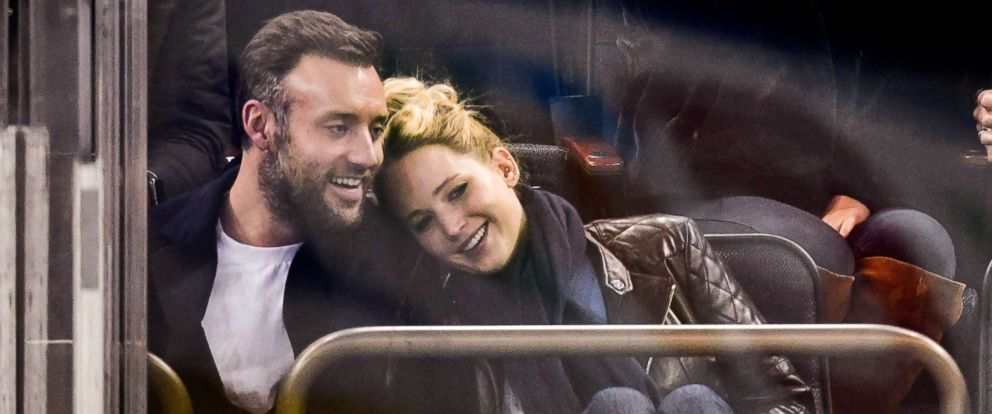 PHOTO: Cooke Maroney and Jennifer Lawrence attend an NHL hockey game in New York, Nov. 4, 2018.