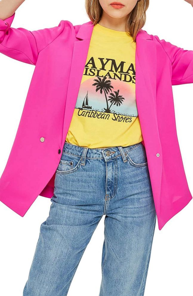 PHOTO: Style Hint: Calling all color lovers. This glam blazer is not for the faint of heart. Mix it with playful tees in equally bright colors for an eye-catching combo. Or, take a sophisticated turn, and use it to spice up head-to-toe black.