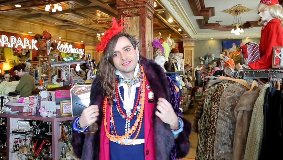 PHOTO: Writer Jacob Tobia tries on clothes at Playclothes in Burbank, California.