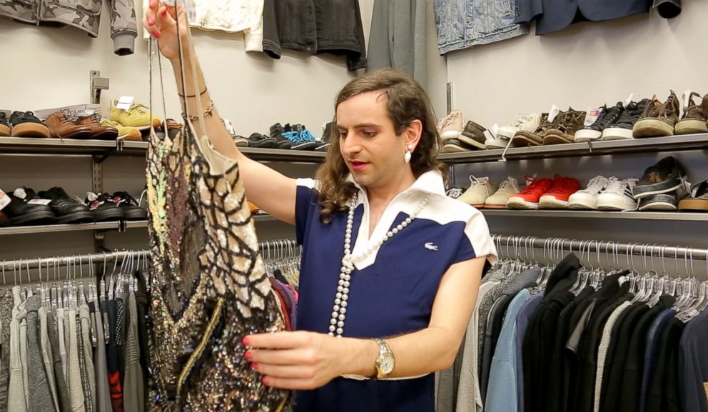 PHOTO: Writer Jacob Tobia looks for an outfit at Crossroads Trading in West Hollywood, California.