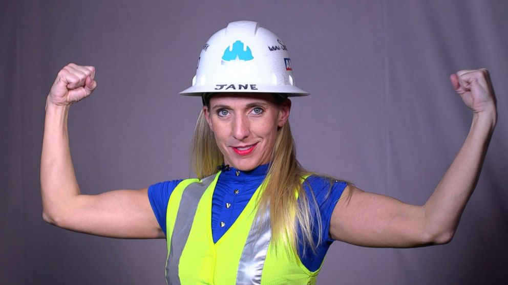 SeeHerWork founder, Jane Henry, is pictured with her hard hat and safety vest from the SeeHerWork line.