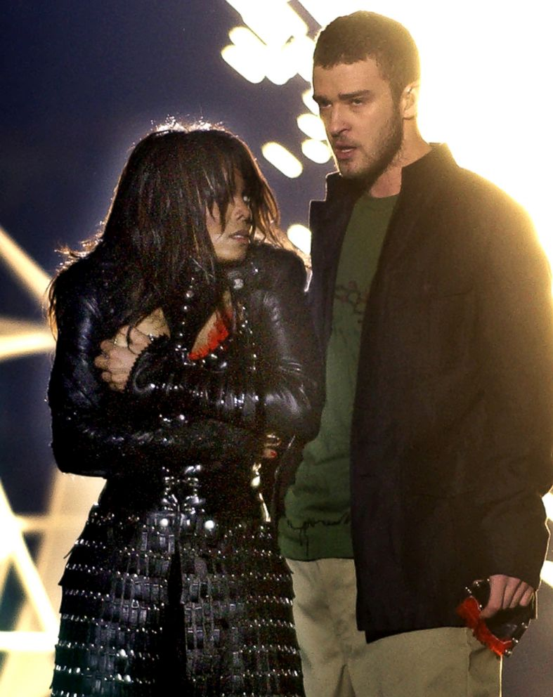 PHOTO: Singer Janet Jackson covers her breast after her outfit came undone during a performance with Justin Timberlake during the halftime show of Super Bowl XXXVIII in Houston, Feb. 1, 2004.