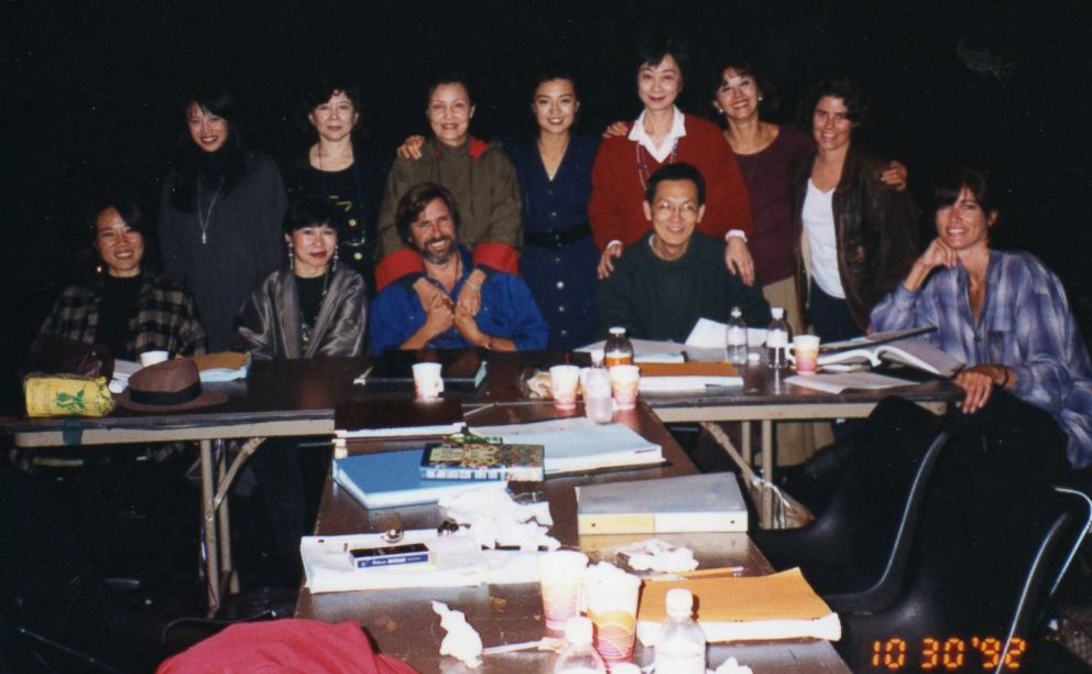 """Janet Yang, who is pictured sitting on the far left, appears with members of the cast at a table read for """"The Joy Luck Club."""""""
