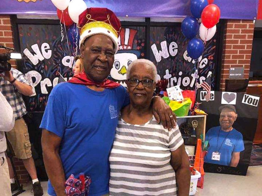 PHOTO: John Lockett, 83, a janitor at Sand Hill Elementary School in Carrollton, GA, is photographed on May 17, 2019, with his wife of 25 years, Annie Lockett.