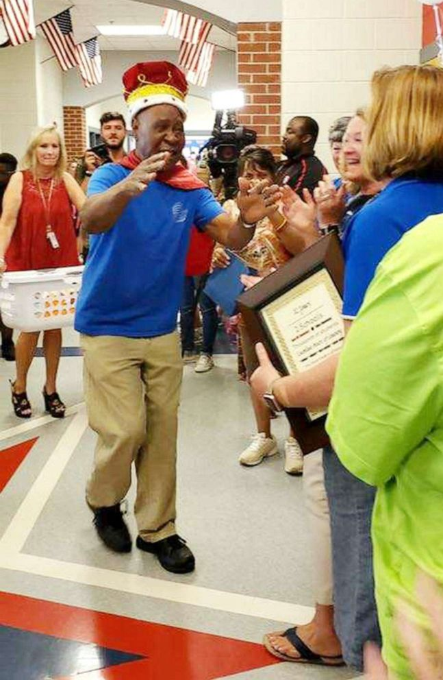 PHOTO: John Lockett, 83, a janitor at Sand Hill Elementary School in Carrollton, GA, received a surprise retirement party from students on May 17, 2019.