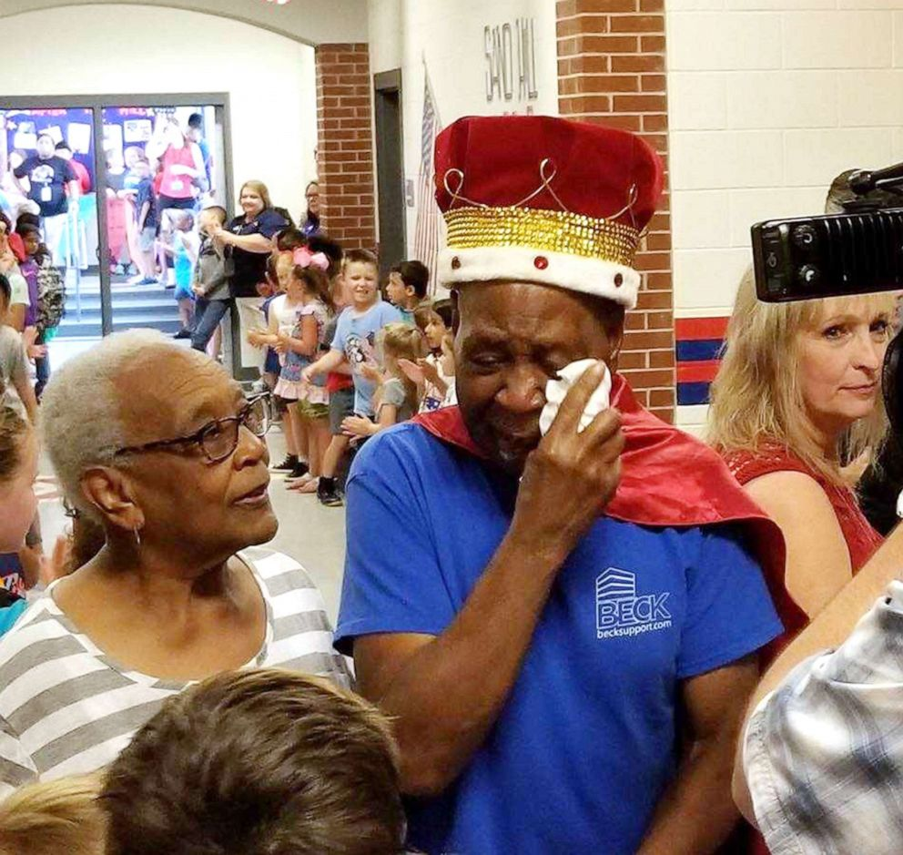 PHOTO: John Lockett, 83, a janitor at Sand Hill Elementary School in Carrollton, GA, will officially retire on May 24, 2019.