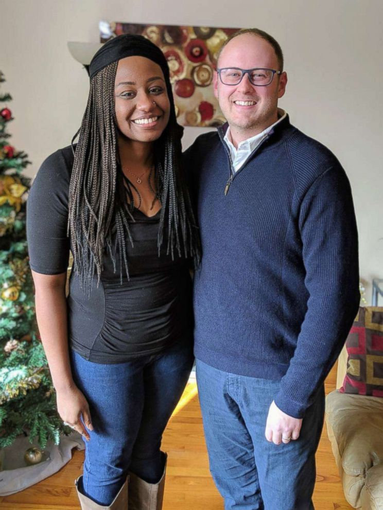 PHOTO: Jasmin Ford, 30, poses in her Chicago home with Mike Crawford of Fifth Third Bank.