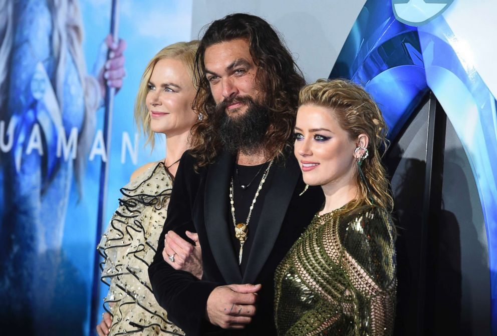 PHOTO: Nicole Kidman, Jason Momoa and Amber Heard arrive at the premiere of Aquaman at TCL Chinese Theatre on Dec. 12, 2018, in Los Angeles.