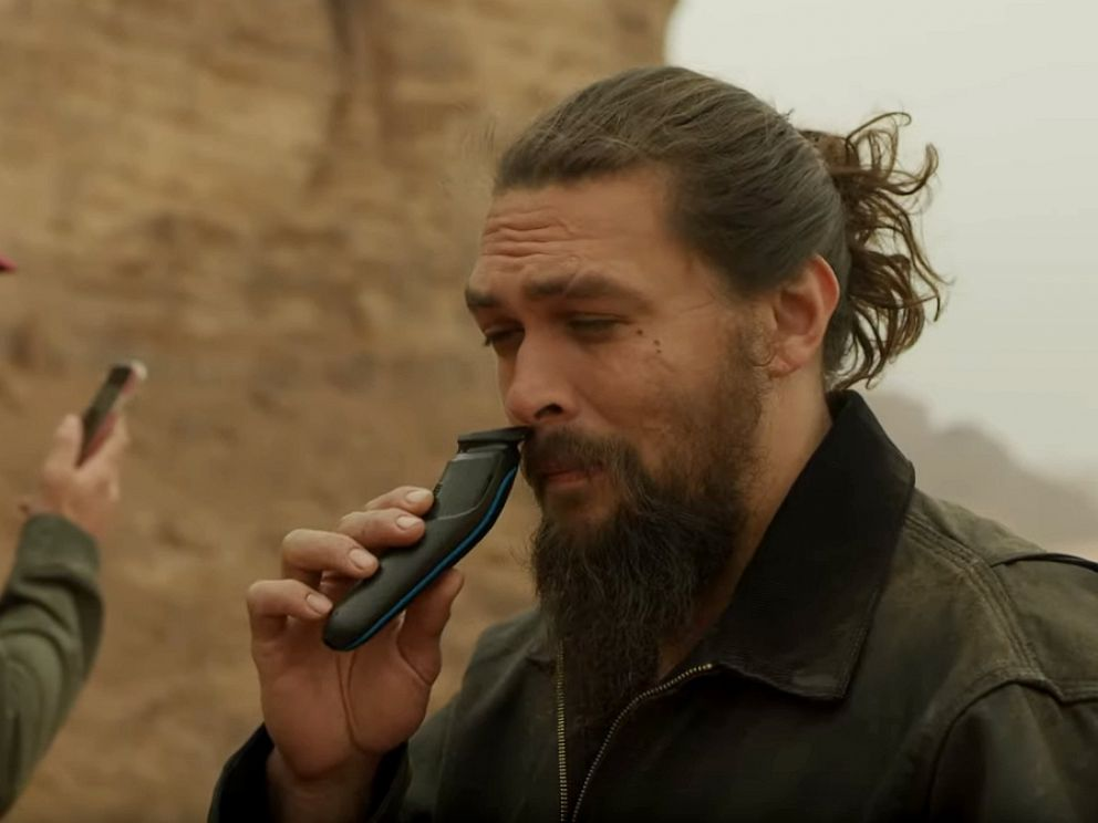 PHOTO: Actor Jason Momoa shaves his beard in a video he shared on YouTube.