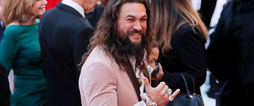 PHOTO: Actor Jason Momoa gestures at the 91st Academy Awards in Hollywood, Calif., Feb. 24, 2019.