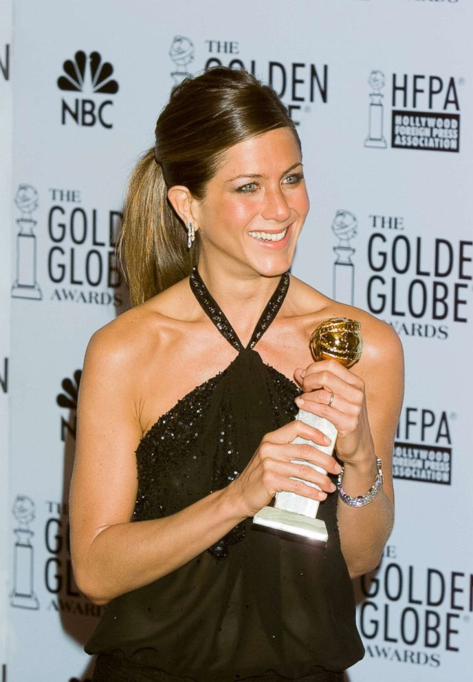 PHOTO: Jennifer Aniston in the Press Room at the 60th Annual Golden Globe Awards held at the Beverly Hilton Hotel, Jan. 19, 2003.