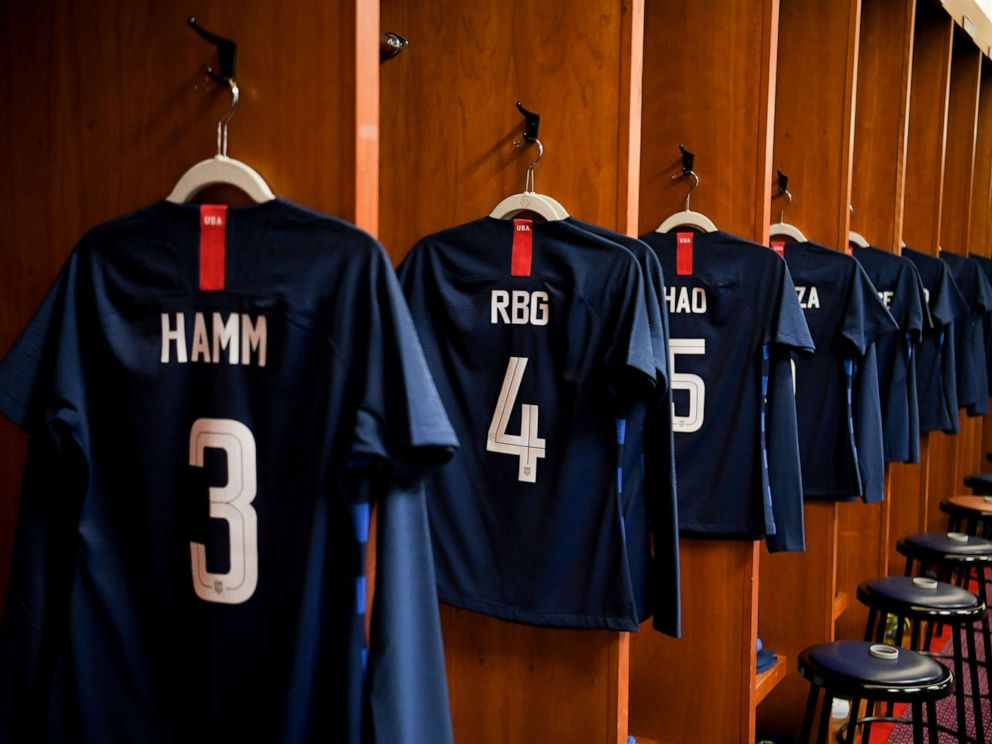 PHOTO: The U.S. Womens National Soccer Team paid tribute to inspirational women by donning the names of other women who have inspired them on their jerseys during their March 2, 2019 game against England.