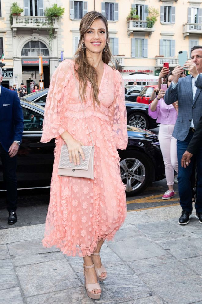 PHOTO: Jessica Alba is seen arriving at a Meet & Greet event for the presentation of the Honest Beauty line in Milan on June 20, 2019.