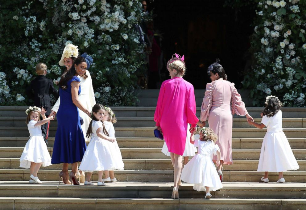Princess Charlotte, Duchess of Cambridge, Jessica Mulroney, Ivy Mulroney, Florence van Cutsem, Zoe Warren, Zalie Warren, Benita Litt, Remy Litt and Rylan Litt arrive for the wedding of Prince Harry and Meghan Markle, May 19, 2018, in Windsor, England.