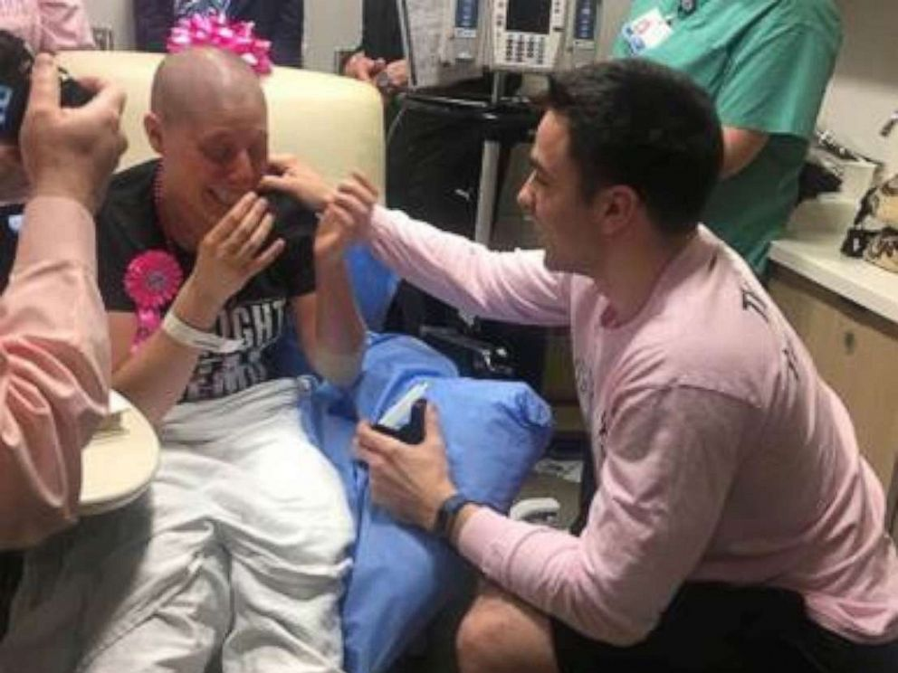 PHOTO: Max Allegretti proposed to Jillian Hanson on February 28, 2018, after her last session of chemotherapy at Memorial Sloan Kettering Monmouth in Middletown, New Jersey.