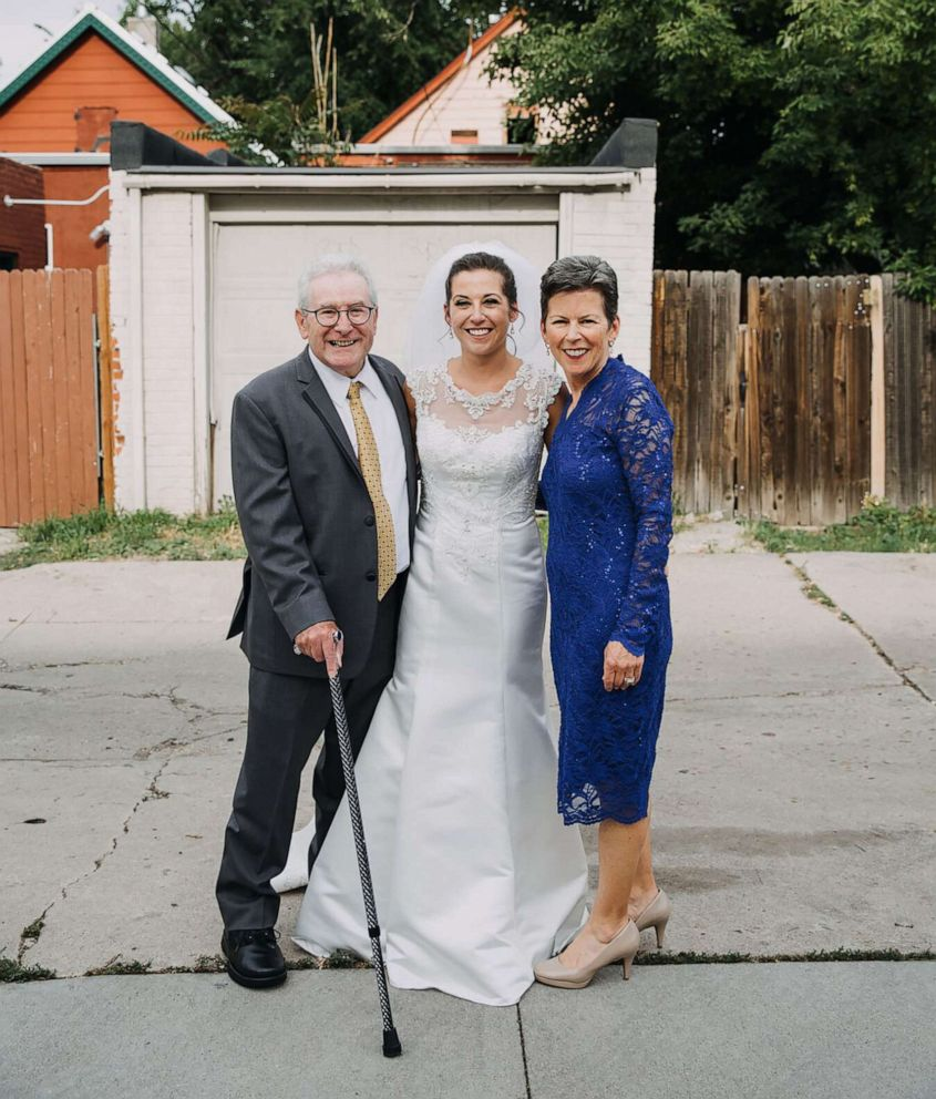 PHOTO: Jim Stamp, 70, of Colorado, is pictured with his wife Cathy Stamp and daughter, Gina Ross, at Ginas wedding in Denver.