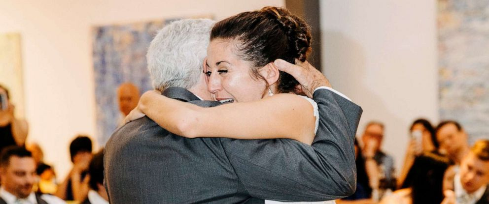 PHOTO: Jim Stamp, 70, of Colorado, who a few years back was diagnosed with a rare autoimmune disorder, ditched his cane to dance with his daughter Gina Ross and walk her down the aisle on her wedding day.